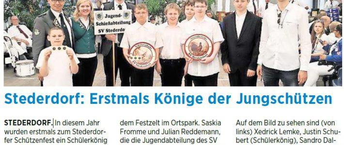 PAZ: Stederdorf: Erstmals Könige der Jungschützen