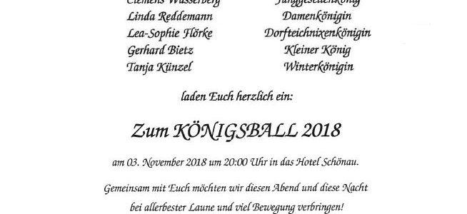 Einladung zum Königsball am 3. November 2018