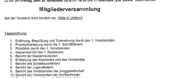 Mitgliederversammlung des Schützenverein Stederdorf am 30.11.2018
