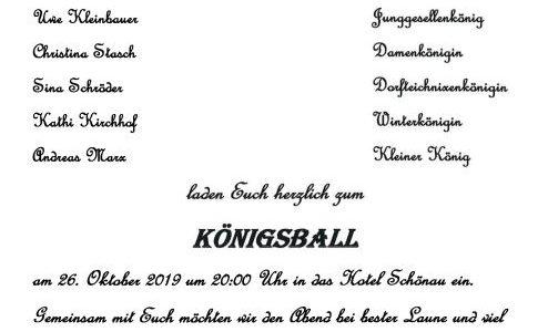 Einladung zum Königsball am 26. Oktober 2019