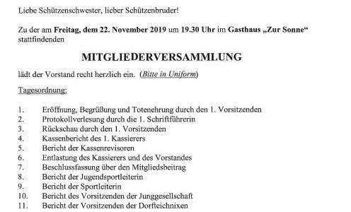 Einladung Mitgliederversammlung des Schützenverein Stederdorf am 22.11.2019
