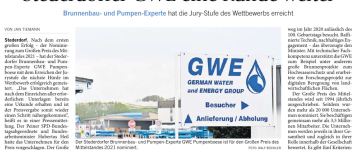 HP: Großer Preis des Mittelstands: Stederdorfer GWE eine Runde weiter