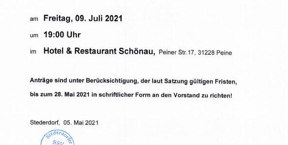 Vorankündigung zur SSV Mitgliederversammlung 2021